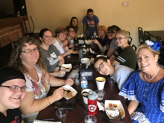 Aug 2019 Tombstone lunch with the youth and after the annual old time photo with the intern Amy Janssen 2019